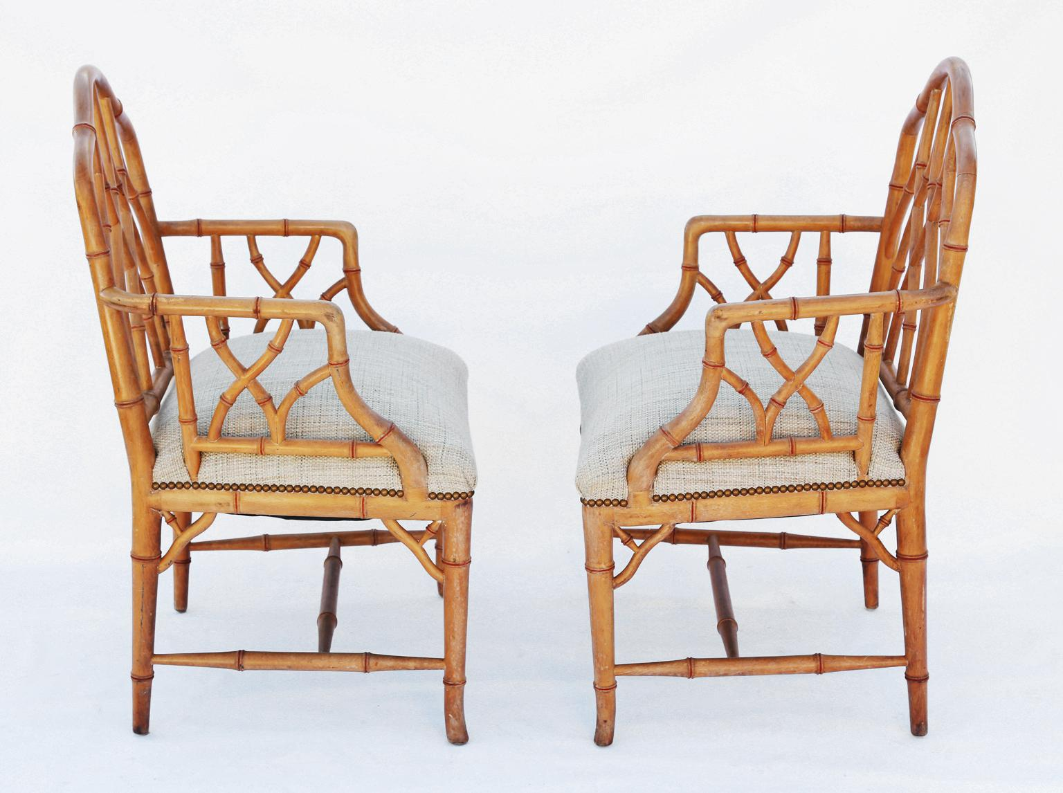 Pair Of Armchairs, Of Pine, Carved As Bamboo, In The Chippendale Style,