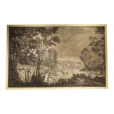 Image of Large Scale Antique Italian Panoramic Park Scene Painting, 19th Century For Sale
