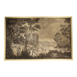 Large Scale Antique Italian Panoramic Park Scene Painting, 19th Century For Sale