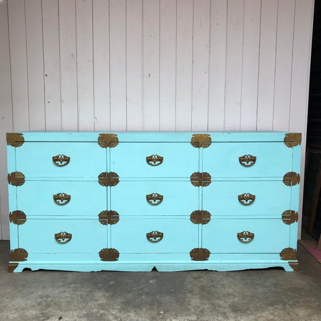 Antique Korean Dresser Campaign in Tiffany Blue For Sale - Image 12 of 12