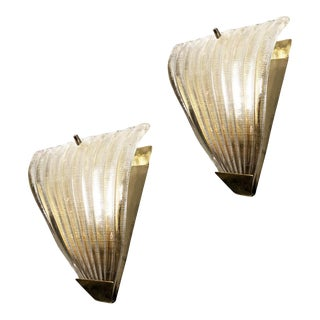 1960s Ribbed Murano Glass Sconces, Italy - a Pair For Sale