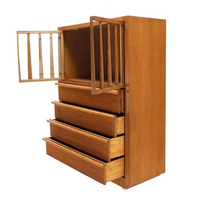 T.H. Robsjohn-Gibbings Large Robsjohn-Gibbings Dresser Secretary w Bookcase For Sale - Image 4 of 8