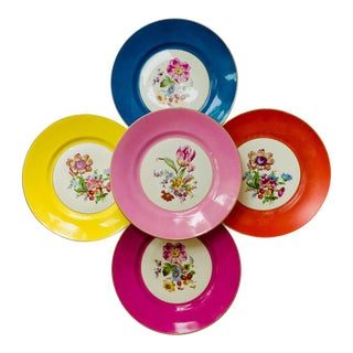 Vintage Richard Ginori Italy, Multicolored Porcelain Salad / Dessert Plates, Flower Patterns , Set of 5 For Sale
