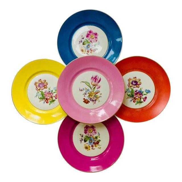Vintage Richard Ginori Italy, Multicolored Porcelain Salad / Dessert Plates, Flower Patterns , Set of 5 For Sale