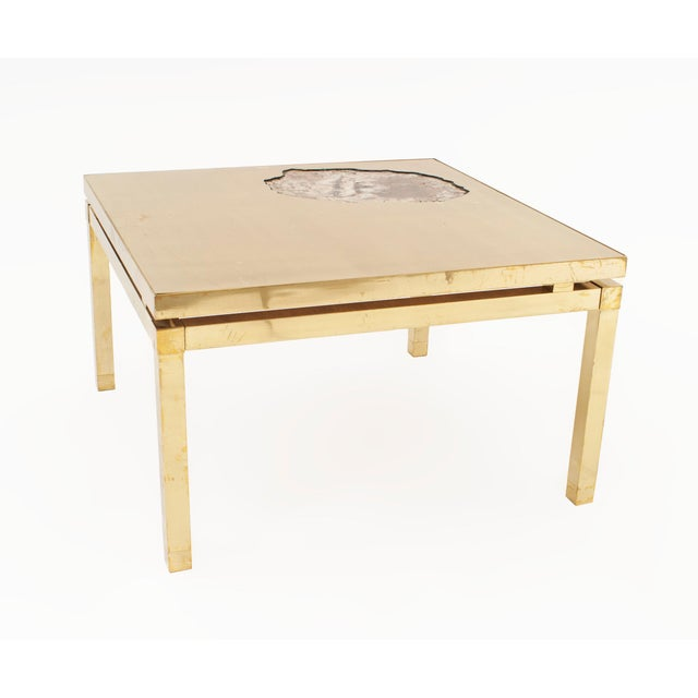 Atelier Jansen French Midcentury Gilt and Brass Low Coffee Table For Sale - Image 4 of 4