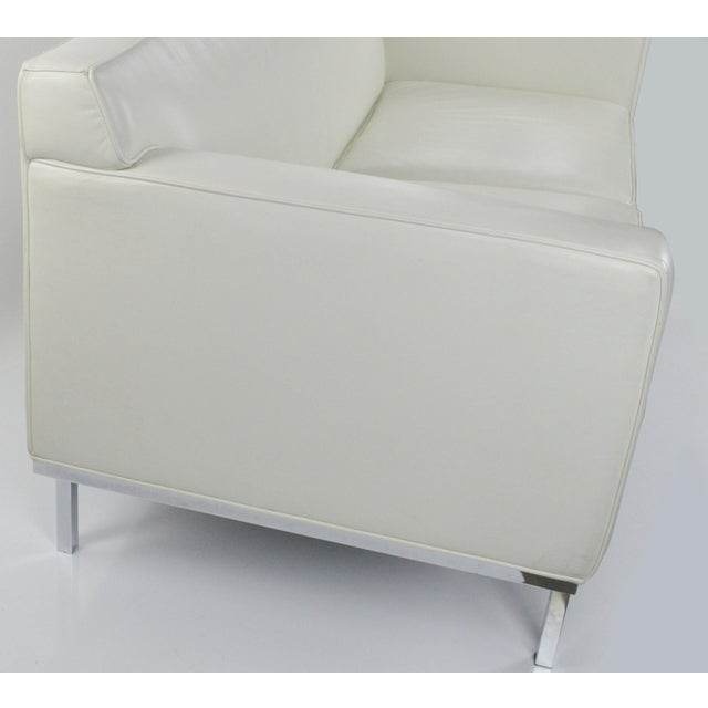 Off White Leather Two Seat Sofa by DWR - Image 5 of 9
