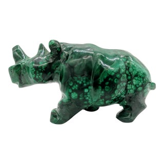 Late 20th Century African Polished Green Malachite Rhinoceros