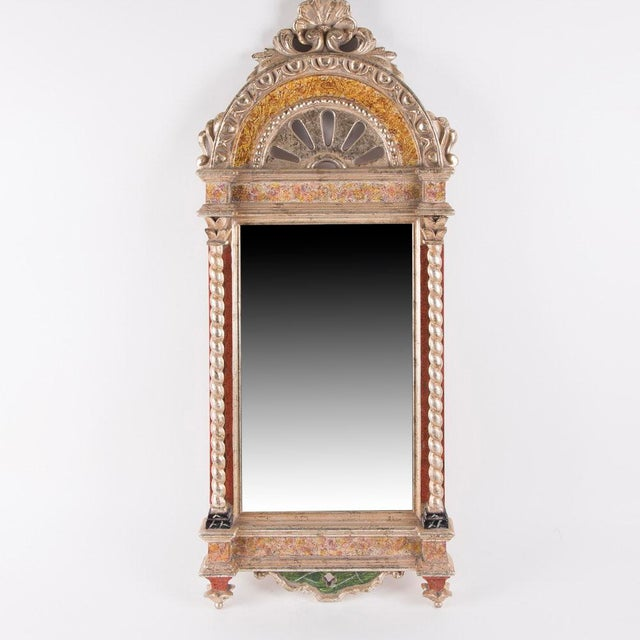 Art Nouveau Classical Styled Niche Mirror With Color Accents For Sale - Image 3 of 7
