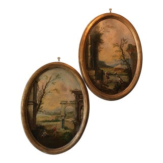 Vintage Oval Framed Italian Ruins Oil Paintings on Canvas - a Pair For Sale