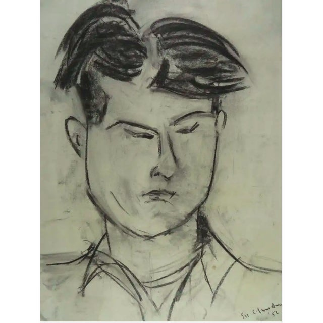 Modernist Portrait of a Man Charcoal Drawing For Sale In New York - Image 6 of 8