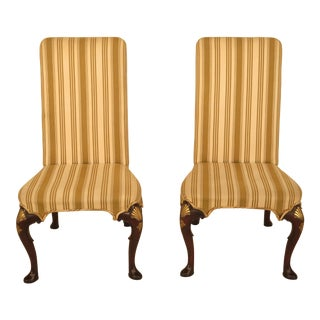 Kittinger Cw-67 Queen Anne Mahogany Upholstered Side Chairs - a Pair