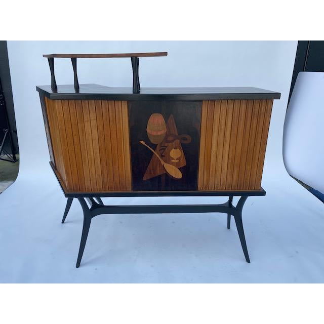 Late 1950's Mid Century Inlaid Bar For Sale - Image 11 of 11