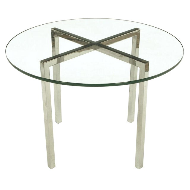Round Chrome X Base And Glass Dining Table Chairish