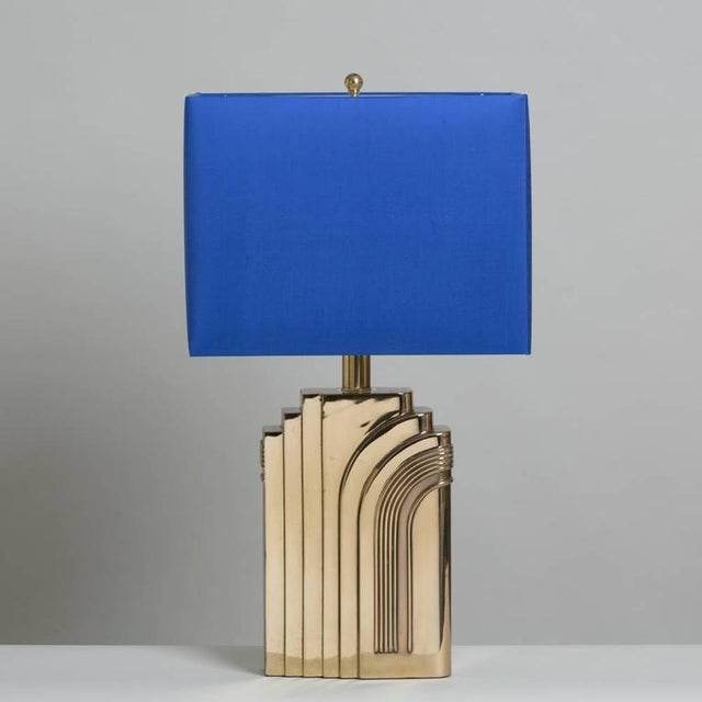 Single Art Deco Style Brass Table Lamp 1970s - Image 2 of 4