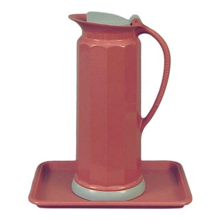 American Art Deco Style Pink and Gray Thermos Thermos and Tray For Sale