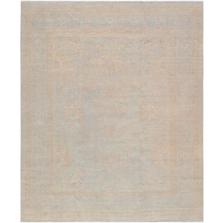 "Pasargad Oushak Distressed Blue Lamb's Wool Area Rug - 11'10"" X 14'10"" For Sale"