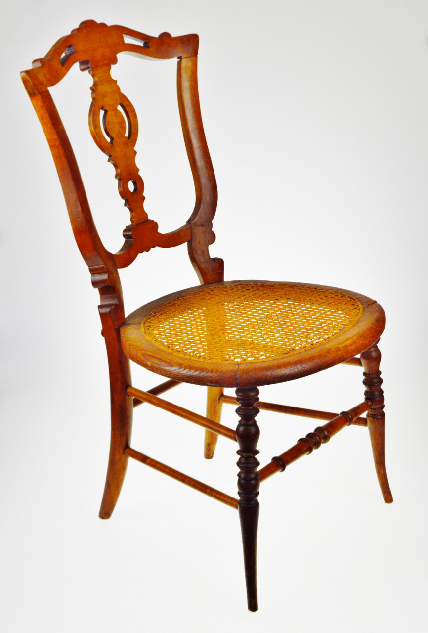 Victorian Oak Cane Seat Side Chair, Accent Chair   Image 2 Of 11