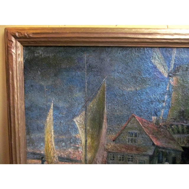 1920s Oil on Canvas Palette Knife Painting of Dutch Fishing Village Scene by Chicago Wpa Artist George Hruska For Sale - Image 4 of 8