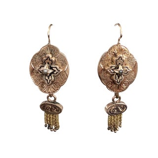 14k Gold Victorian Pierced Dangling Earrings With Fringe For Sale