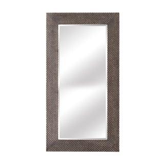 Terrance Weave Wood Frame Full Length Leaner Mirror For Sale