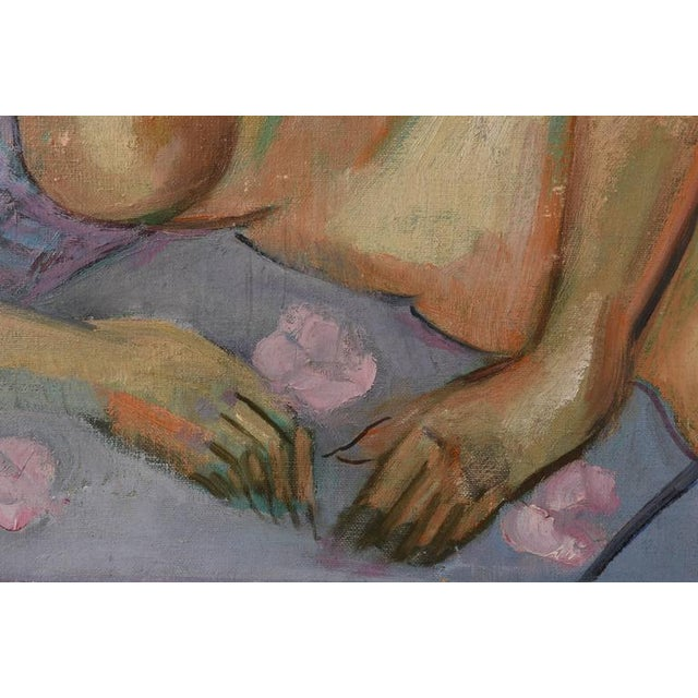Mid-Century Modern Female Nude Painting Signed F. Krieger (American) For Sale - Image 4 of 9
