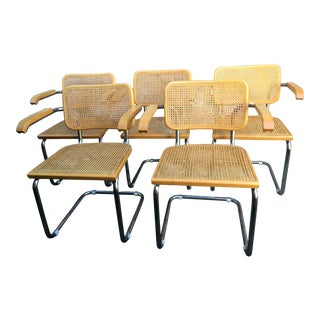 1970s Vintage Italian Marcel Breuer Chairs - Set of 5 For Sale