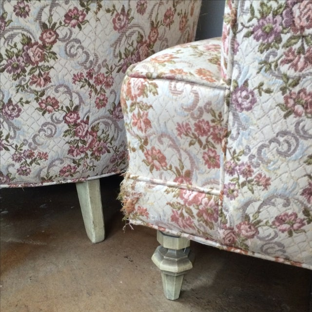 Petite Floral Club Chairs - A Pair - Image 7 of 9