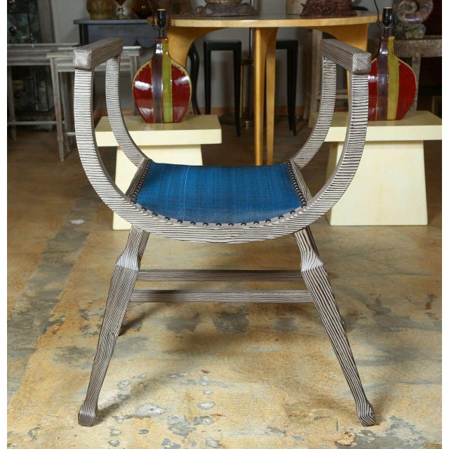 Paul Marra Distressed Fir Bench in Blue Horsehair - Image 6 of 8