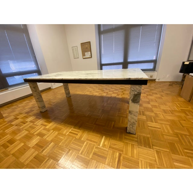 Black 1970s Vintage Calacatta Marble Dining Table For Sale - Image 8 of 13