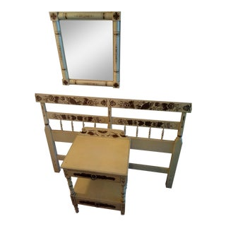 1950s Americana Warranted Headboard, Nightstand & Mirror For Sale