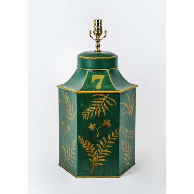 Vintage English Export Painted With Ferns Leave Style Green Hexagonal Tea Caddy Lamp For Sale - Image 9 of 9