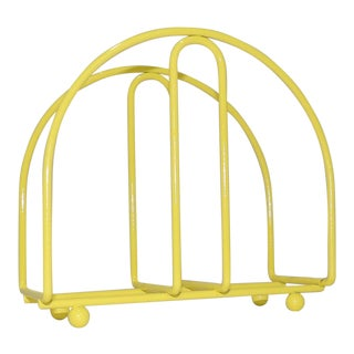 Electric Yellow Metal Table Napkin Holder For Sale