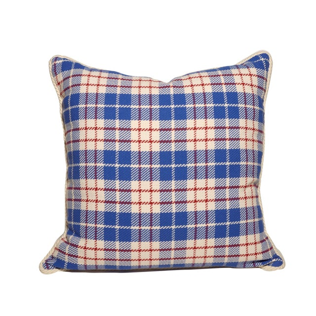 Handwoven Plaid Pillows, all Cotton Red, White and Blue Plaid. Plaid fronts, Solid White backs, white cord trim. Down...