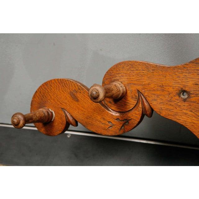 Victorian Carved Oak and Antler Coat/Hat Rack - Image 6 of 8