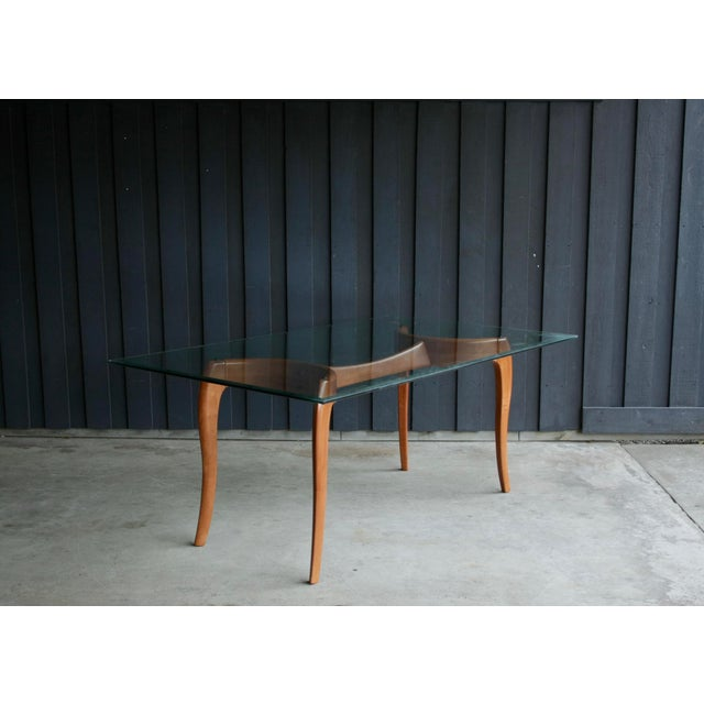 1980s Danish Modern Anthropomorphic Carved Hardwood Dining Table For Sale - Image 5 of 13