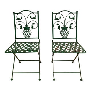 Pair, 1940's Metal Folding Garden Chairs For Sale