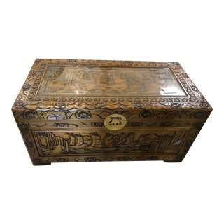 Antique Asian Brown With Ship Scenery Motif Carving Trunk For Sale