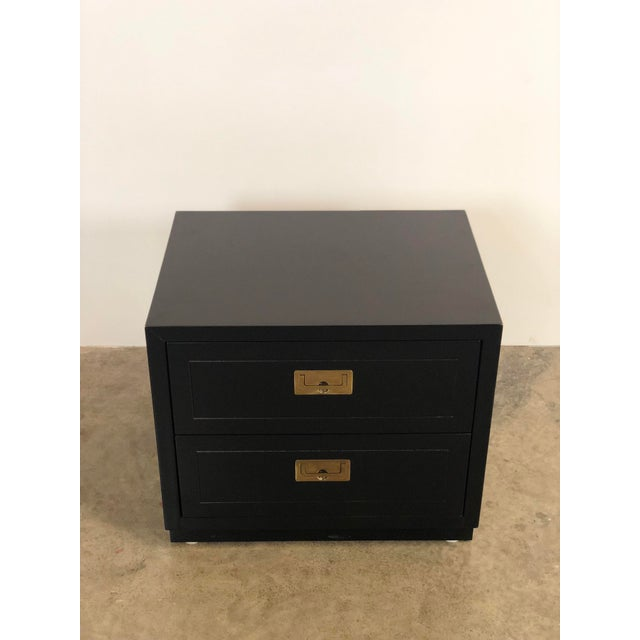 Black Lacquered two drawer campaign chest Made by Henredon. Rosewood drawers, original brass hardware! Timeless.