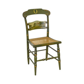 Hitchcock Green Painted George Washington Mount Vernon Cane Seat Side Chair For Sale
