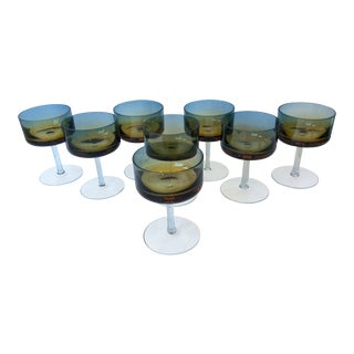 Mid-Century Modern Blue Amberina Cocktail Glasses Hand Blown Rare Poland Set of 8