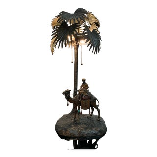 Austrian Cold Painted Bronze Orientalist Lamp Attributed to Bergman For Sale