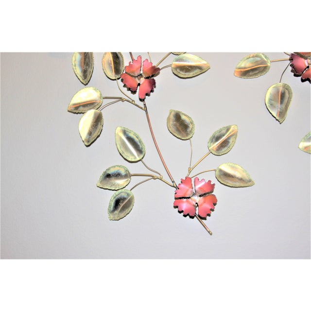Impressionism Mid-Century Modern Brass Enameled Floral Signed Wall Art - a Pair For Sale - Image 3 of 9