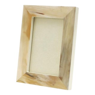 "Cream Lacquer and Horn Picture Frame, 4"" X 6"" For Sale"