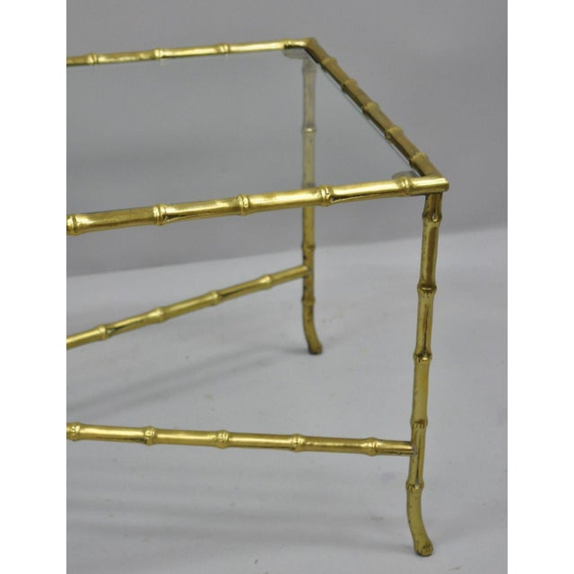 French Maison Bagues French Bronze Faux Bamboo Glass Rectangular Coffee / Cocktail Table For Sale - Image 3 of 11
