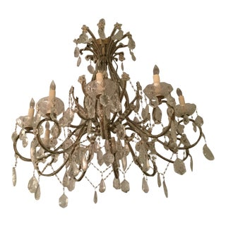 19th Century Antique French Crystal Beaded Chandelier For Sale