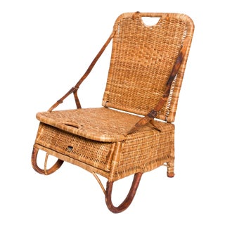 Vintage Folding Beach Chair Woven Wicker and Leather Sculpted Portable Travel For Sale