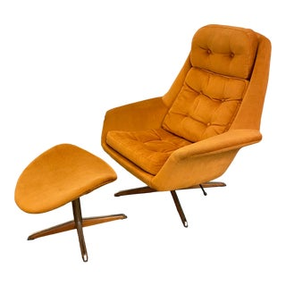 1960s Vintage Danish Modern Lounge Chair With Ottoman For Sale