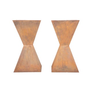 Mid-20th Century Brancusi Style Steel Side Tables - a Pair For Sale