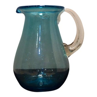 Vintage Blenko Blown Glass Cerulean Blue Pitcher For Sale