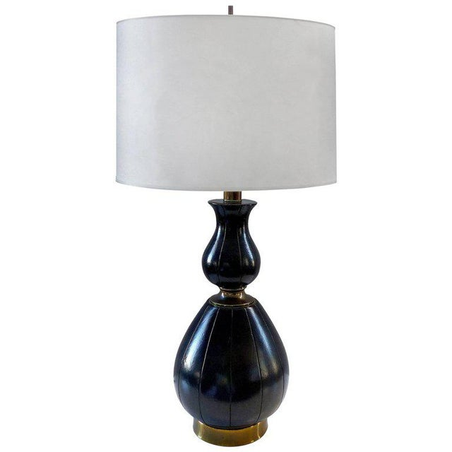 Elegant and Unusual 1940s Leather and Brass Table Lamp For Sale - Image 10 of 10